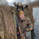 Waterfowl hunting. Ed in a duck blind